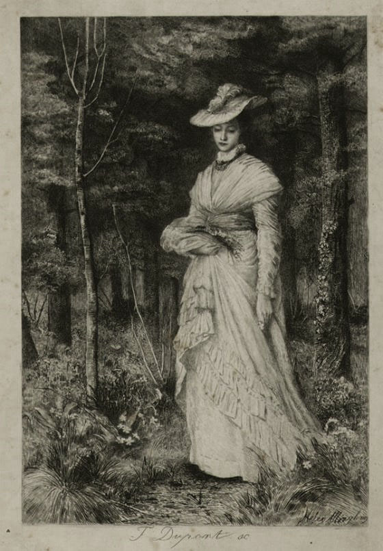 Young Woman Gathering Wild Flowers