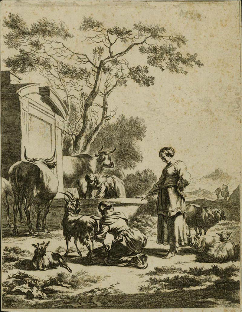 Women with Cows and Goats at a Fountain