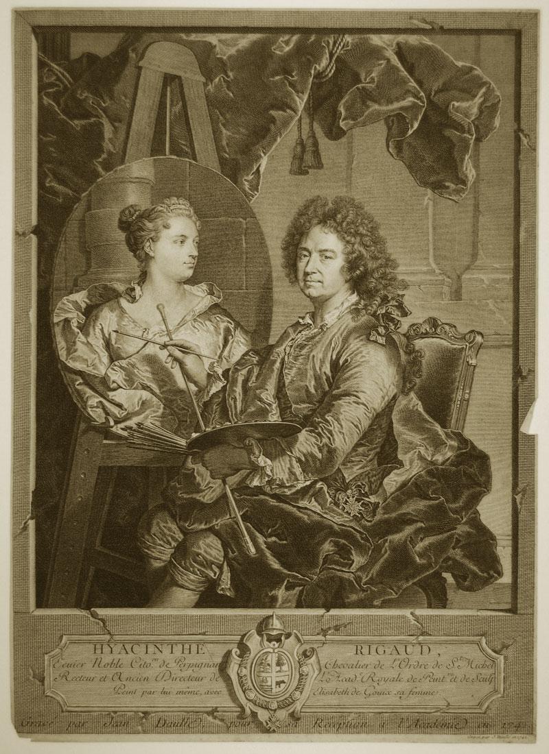 Hyacinthe Rigaud Painting His Wife Elisabeth de Gouix