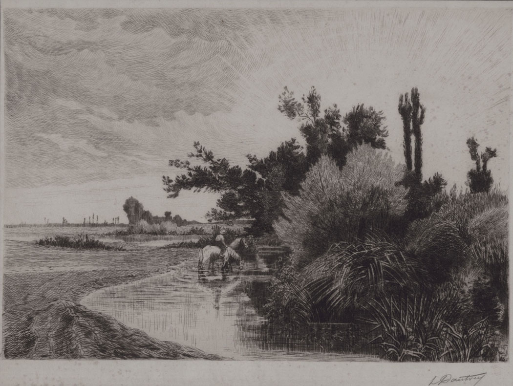 Landscape with Stream and Horses