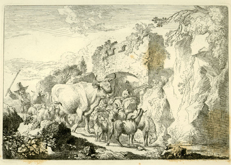 Peasant herding sheep and cattle