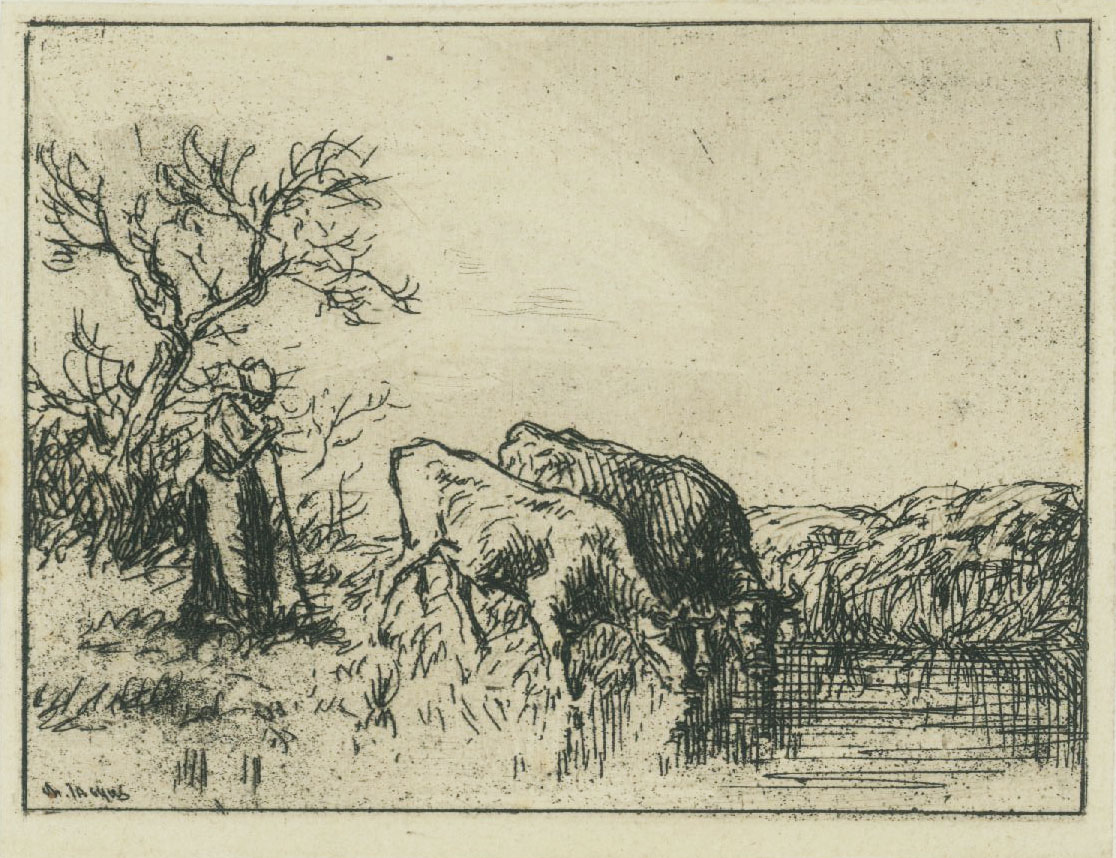 Farm Scene with Two Cows