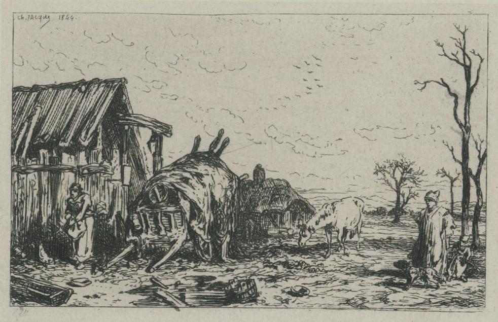 Farm Scene with Horse