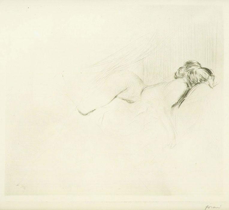 Croquis de femme nue, la tete contre l'oreiller