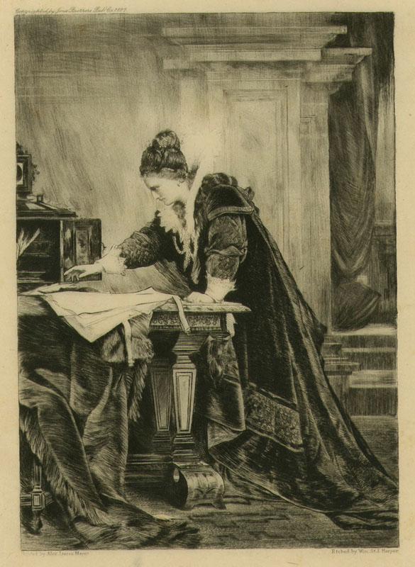 Unterzeichnung des Todesurteils der Maria Stuart durch Elisabeth