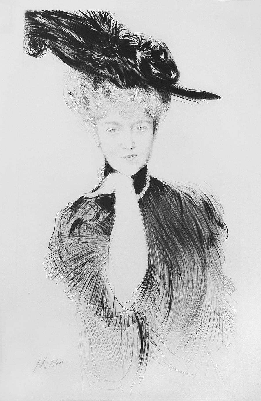 Femme aux Perles dans un Chapeau