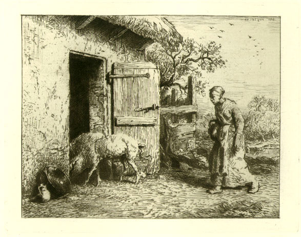 Peasant Woman Driving Pigs into Stable