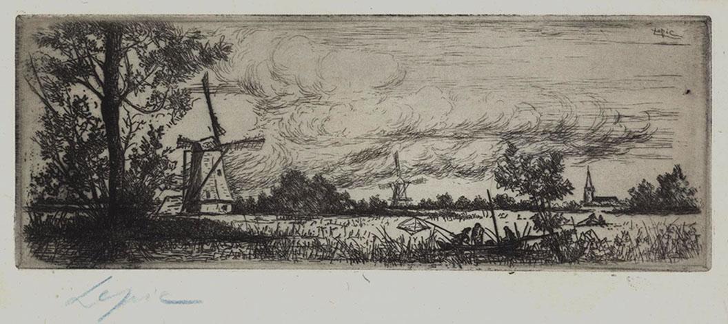Bords de Riviere Ombreux avec Deux Moulins et Cloche a droite