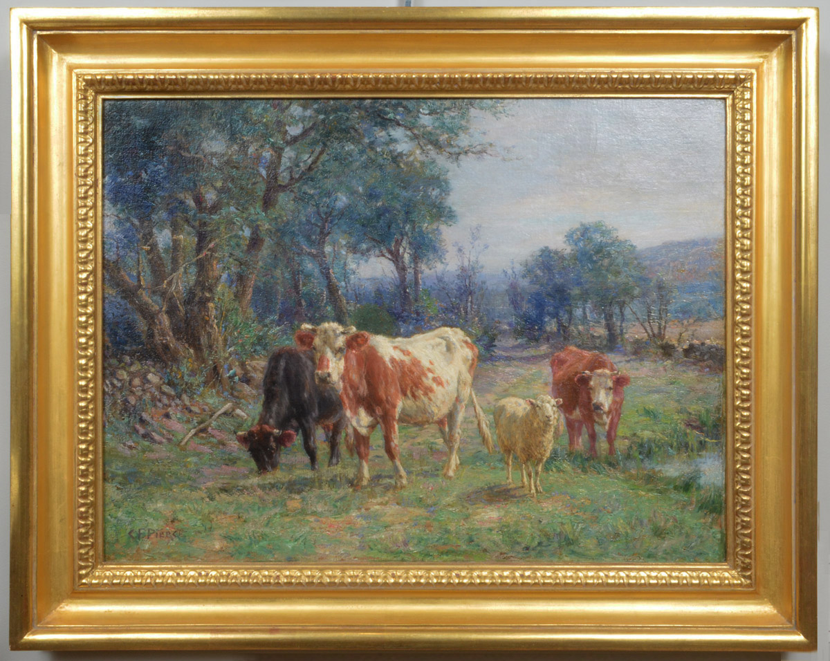Cattle and Sheep in a Pasture Beside a Stream