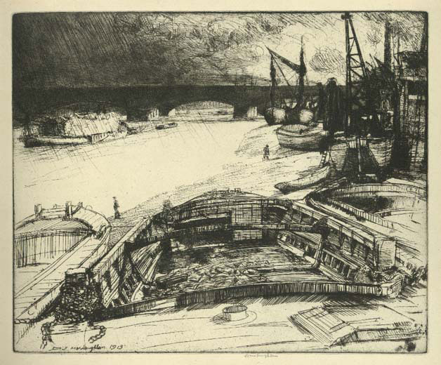 Wind And Rain Dockyard Scene