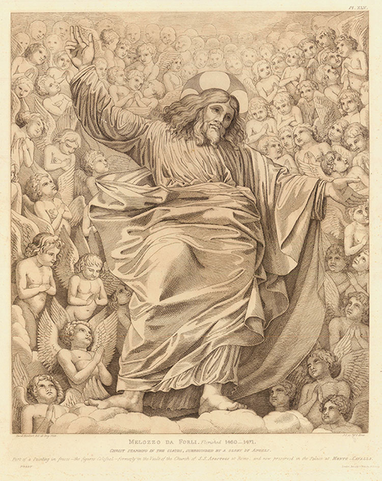 Christ Standing in the Clouds, Surrounded by  a Glory of Angels